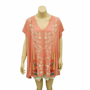 1826 Caite Floral Embroidered V Neck Tunic Top S